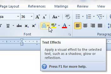 click the text effects button