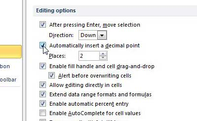how to automatically insert a decimal point in excel 2010