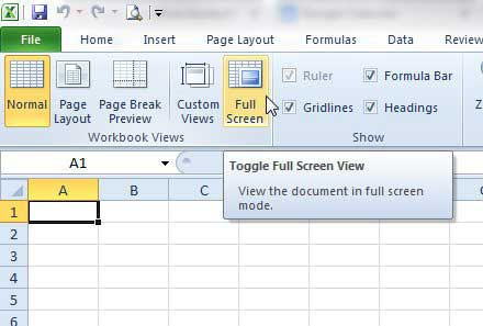 How to Exit Full Screen View in Excel 2010 - Solve Your Tech