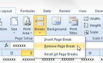how to remove a page break in excel 2010
