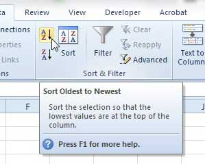click the sort oldest to newest or the sort newest to oldest button