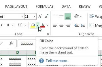 how to change the cell color in Excel 2013