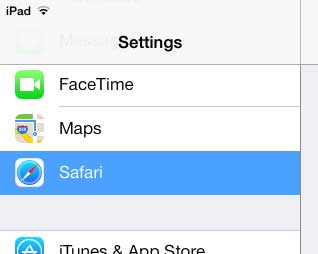 open the ipad safari menu