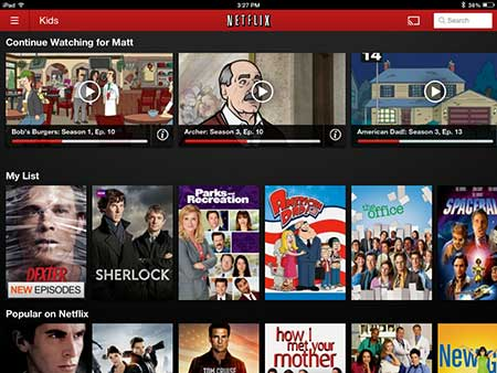 navigate to the netflix app main menu