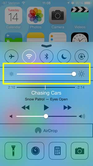 how to increase the screen brightness on the iphone