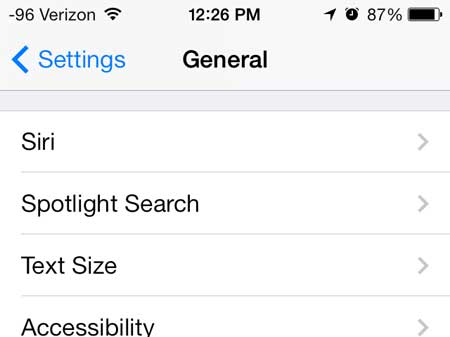 select the spotlight search option