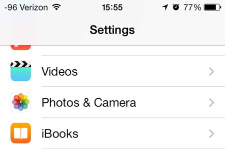 select the photos and camera option