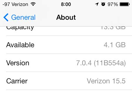 how to check the version number on your iPhone