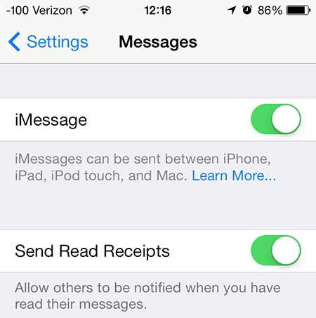 move the slider next to send read receipts