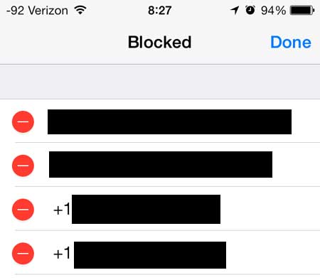 touch the red dot to the left of the number to unblock