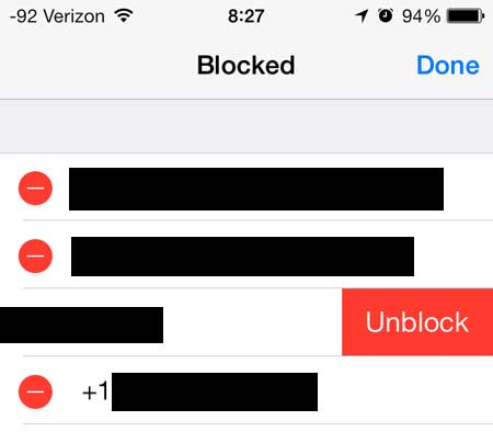 touch the unblock button