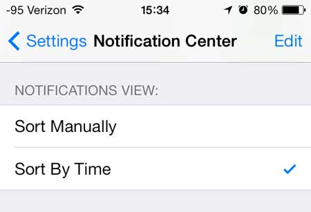 how to sort notifications by time on the iphone 5