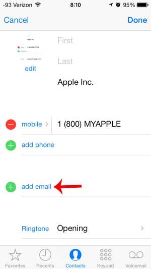 how to add an email address to a contact on the iphone