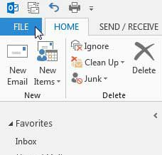 click the file tab