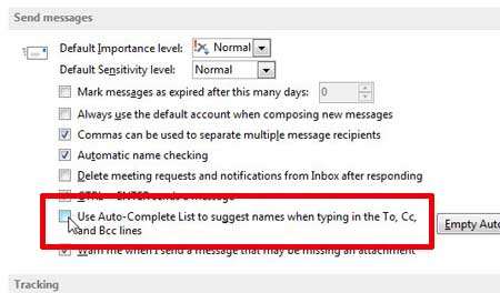 how to disable auto-complete in outlook 2013