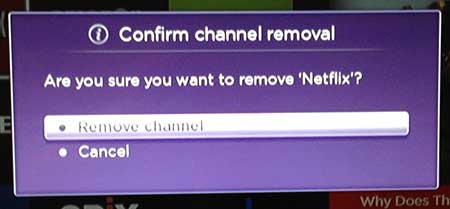 confirm that you want to remove the channel