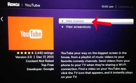 select the add channel option