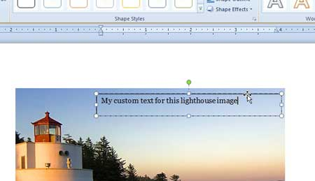 how to add text to a picture in word 2010
