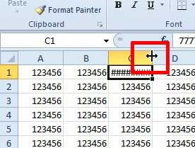 position your cursor on the right border of the column heading