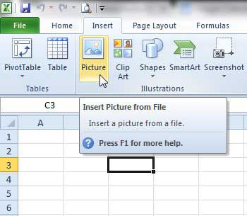 how to insert a picture into a cell in Excel 2010
