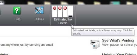 locate the estimated ink levels at the top of the window