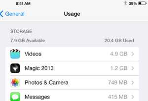 How to Check the Available Space on the iPad in iOS 7