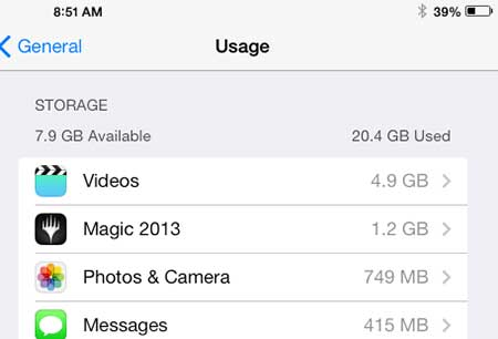 how to check the available storage space on the ipad in ios 7