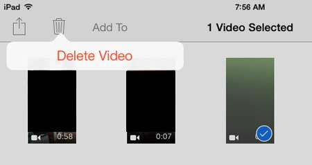 how to delete recorded video on the ipad in ios 7