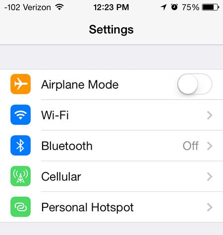 select the personal hotspot option