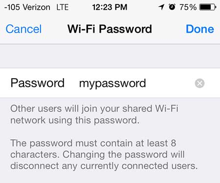 how to change the personal hotspot password on the iphone