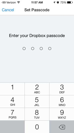 create the dropbox passcode