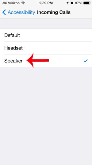 select the speaker option