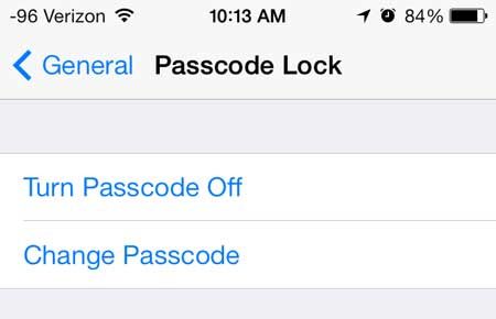 touch the change passcode button