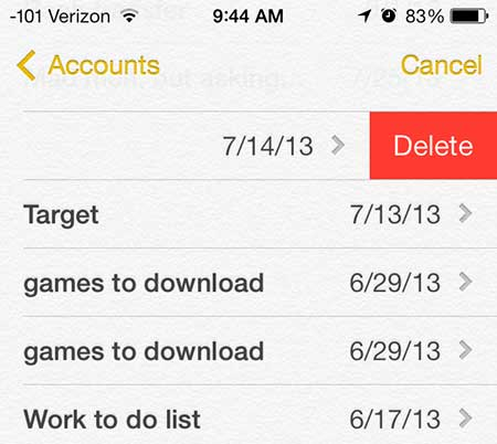 how to delete a note on the iphone 5 in ios 7