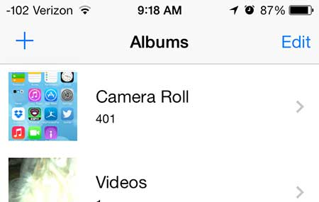 select the camera roll