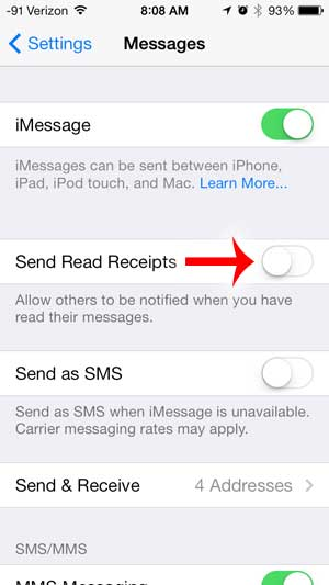 how to disable read receipts on the iphone 5