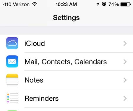 how to find the icloud settings on the iphone