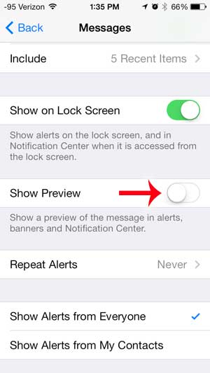 how to stop showing text message previews on the iphone lock screen