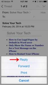 how to reply to an email on the iphone