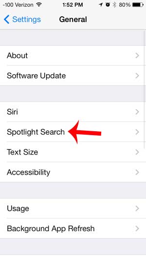 tap the spotlight search option