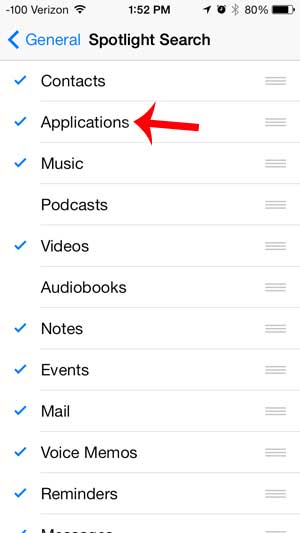 select the applications option