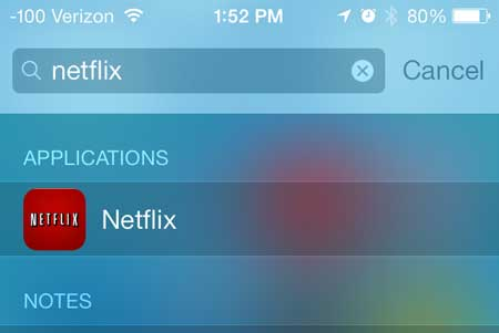 how to search for apps on spotlight search on iphone