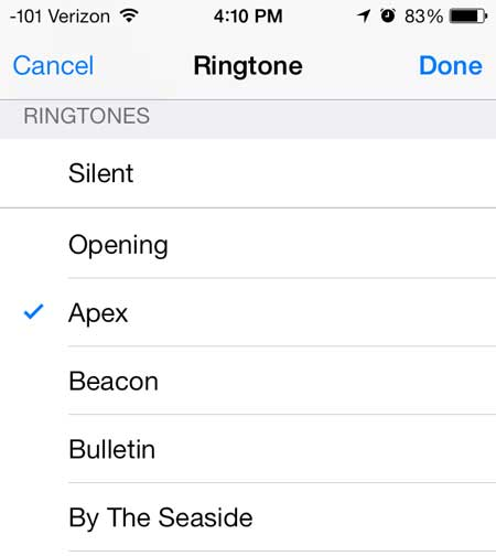 select the new ringtone