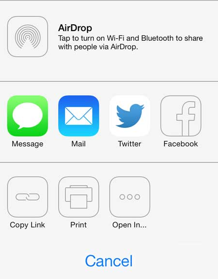 how to share a link to a dropbox file on the iphone