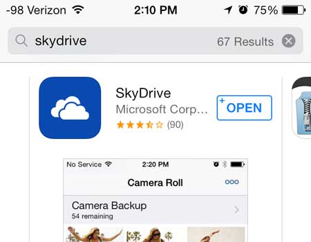open the skydrive app