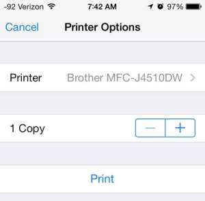 how to print to the brother mfc-j4510dw from an iphone
