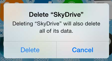 how to delete skydrive from the iPhone