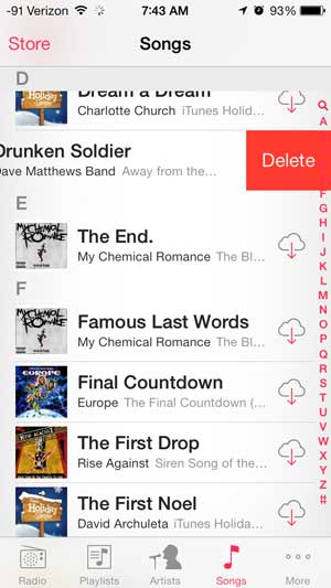 deleting a song on the iphone