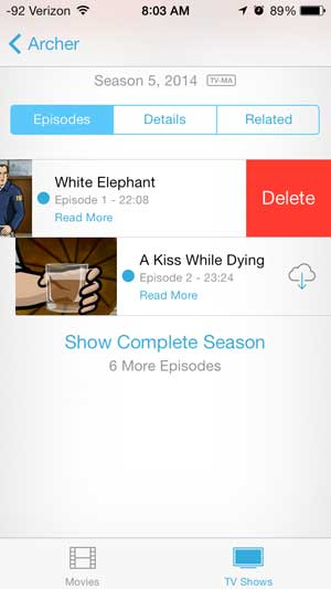 deleting a tv show or movie on the iphone