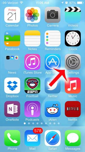 touch the settings icon